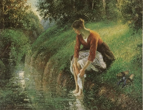 Camille Pissarro, Young Woman bathing her feet in a Brook