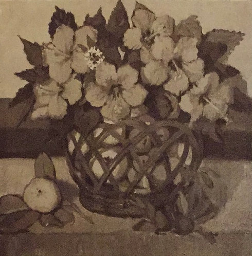 Margaret Preston, Basket of Hibiscus/ Native Heath, 1927 reproduction