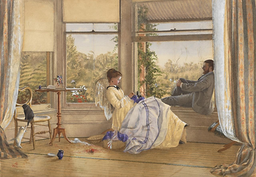 Emma Minnie Boyd, Interior with figures,
