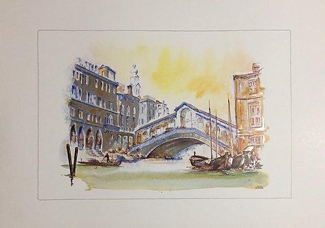 The Rialto Bridge Venice, Lithograph