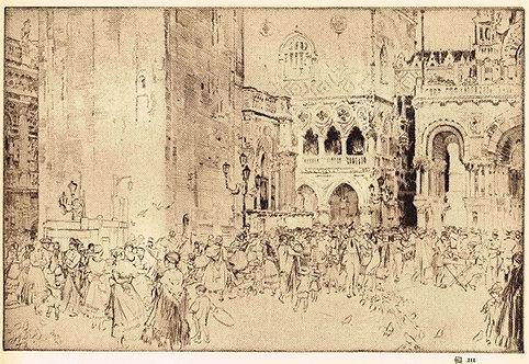 W Russell Flint, Nursemaids in the Piazza, Venice