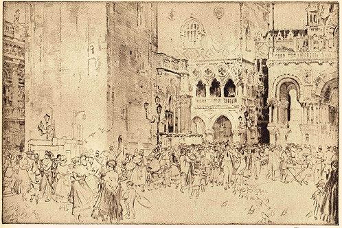 W Russell Flint Nursemaids in the Piazza, Venice