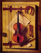William Michael Harnett, Still life, Violin and Music, 1888