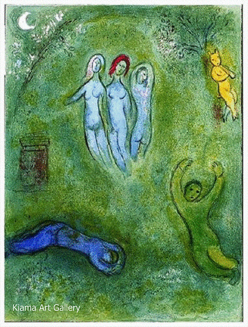 Chagall Daphnis and Chloe 1977 Print 320mm x 240mm The Dream of Daphnis, The Three Nymphs