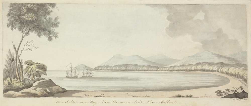 William Ellis, View of Adventure Bay, Van Diemen's Land, New Holland, 1777
