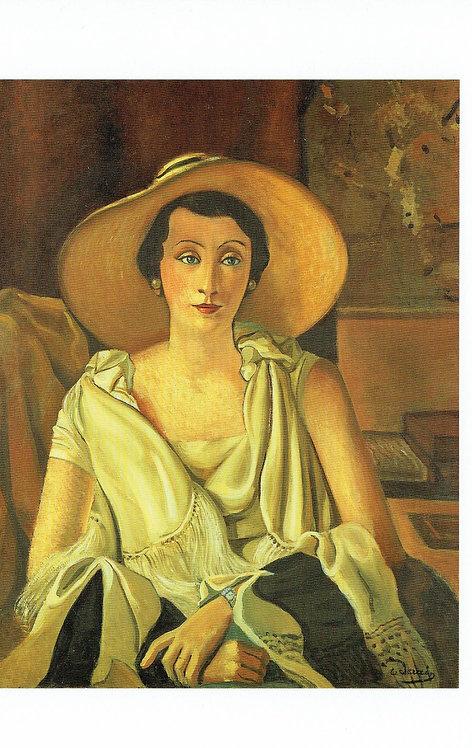 Andre Derain, Portrait of Mrs Paul Guillaune in a wide brimmed hat,