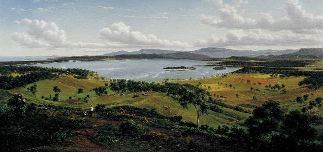 Eugene Von Guerard View of lake Illawarra with distant mountains of Kiama 1860.