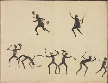 Tommy McRae, Aboriginal man chasing Chin