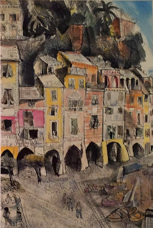 Donald Friend, The Piazza, Portifino (detail)