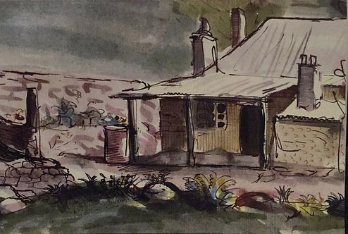 Donald Friend, The Cottage from the back Lawn