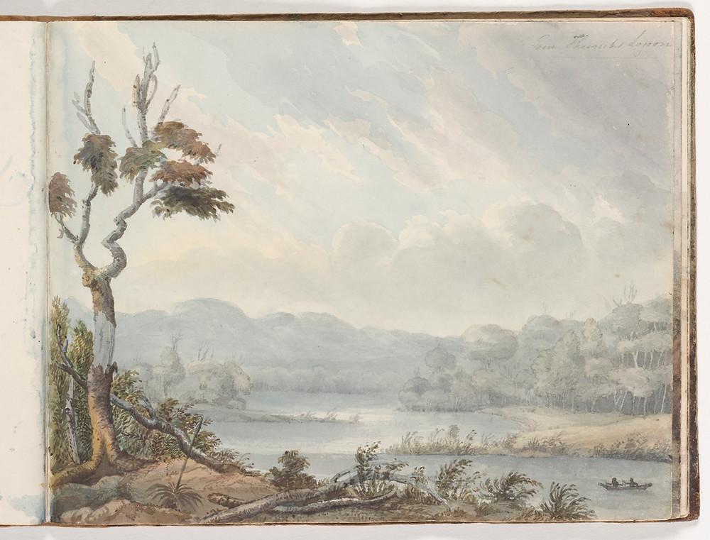 Edward Charles Close, Coastal landscape with settler's hut, Illawarra, Inscribed Five Islands c1817 - 1840