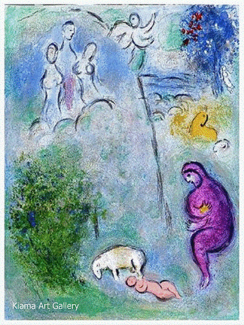 Chagall Daphnis and Chloe 1977 Print 320mm x 240mm  Chloe is Found by Dryas