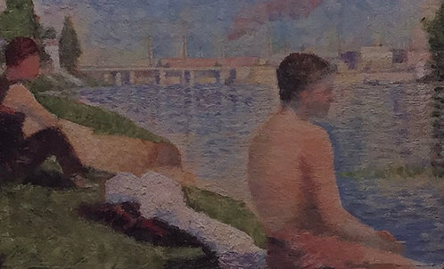 Georges Seurat, Two Seated Figures, Study for Bathers as Asnieres