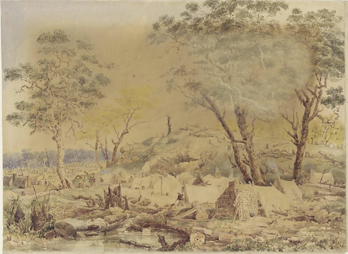 Henry Winkles, View of a Goldfield, Vict