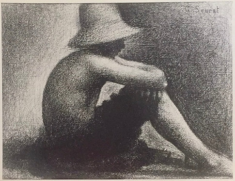 Georges Seurat, Seated Boy with Straw Hat, Study for Bathers as Asnieres