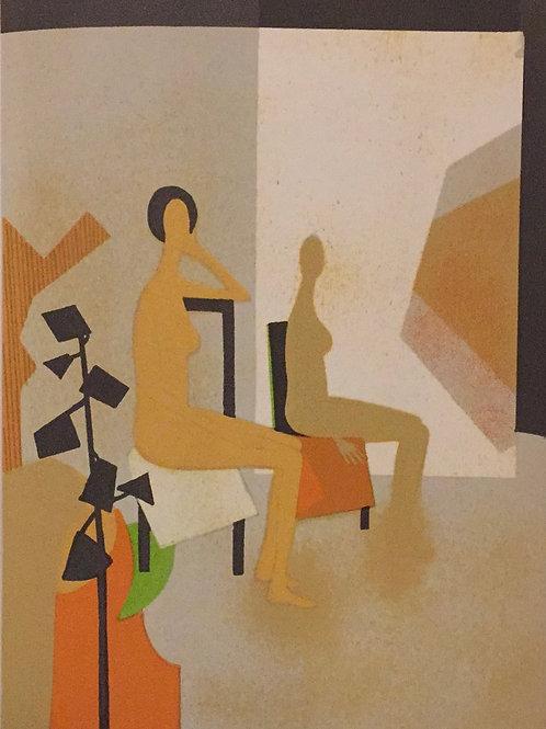 Andre Minaux, Les deux Modeles, Original Lithograph