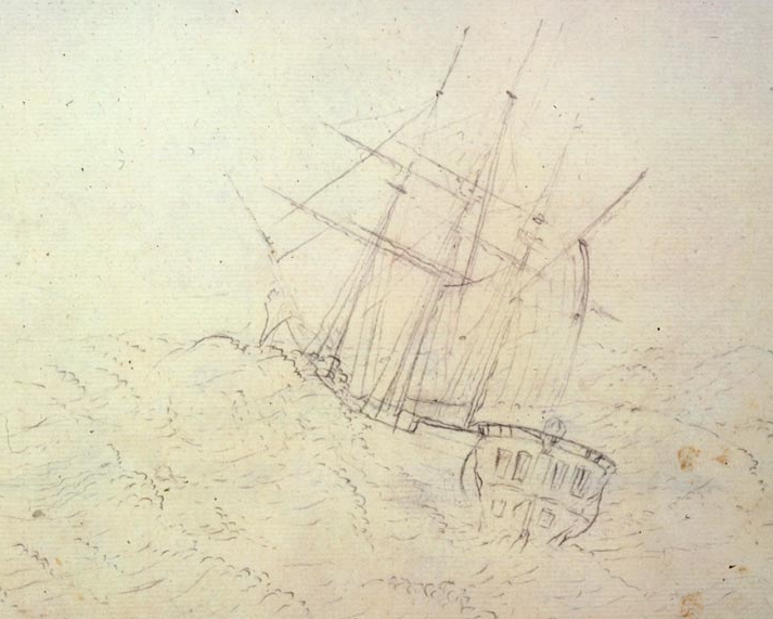 Sydney Parkinson, Endeavour at Sea, 1768-1771, pencil, British Library
