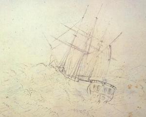 Sydney Parkinson, Endeavour at Sea, 1768-1771, pencil, British Library