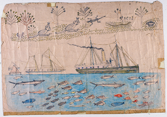 Mickey of Ulladulla, not titled, animals and flowers, four sailing ships, fish in the sea, c1880, AIATIS Collection