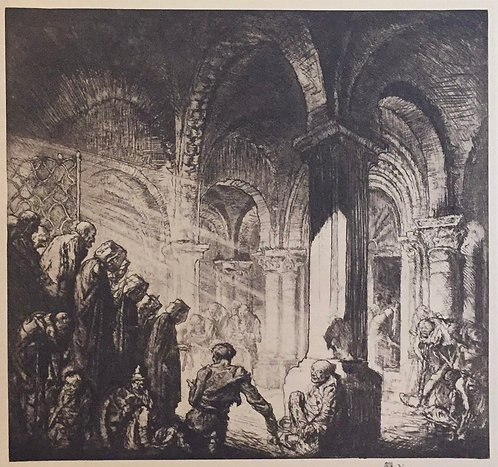 Frank Brangwyn, Interior of Church at Airvault