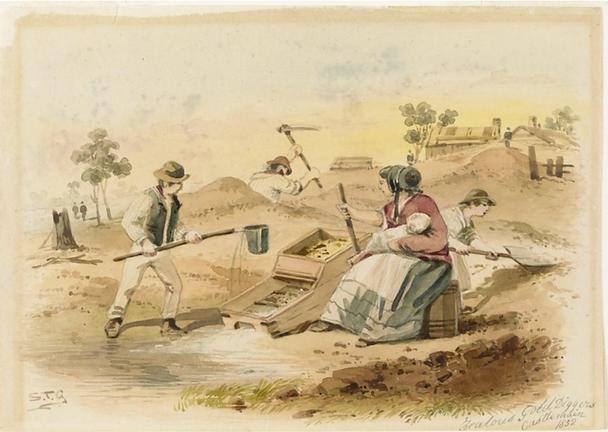S T Gill, Zealous diggers Bendigo, 1854