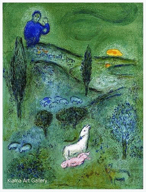 Chagall Daphnis and Chloe 1977 Print 320mm x 240mm Daphnis is Found by Lamon