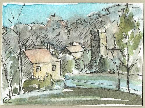 Katy Cannan, Cotswold Village in the Springtime, Watercolour