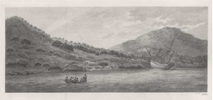 Engraving of the damaged Endeavour based on a drawing by Sydney Parkinson