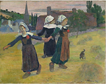 paul gaugin breton girls dancing pont aven 1888