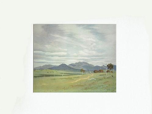 Elioth Gruner, 1947 print, Distant Mountains