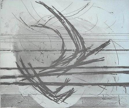 Satish Sharma, Early Morning Flight, Lithograph/mixed media