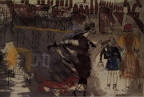 Donald Friend, The English in the Streets, Winter (detail)