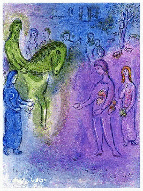 Chagall Daphnis and Chloe 1977 Print 320mm x 240mm The Arrival of Dionysophanes