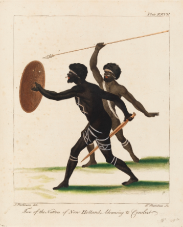 Sydney Parkinson, Two of the Natives of New Holland Advancing to Combat (etching by Thomas Chambers after the drawing)