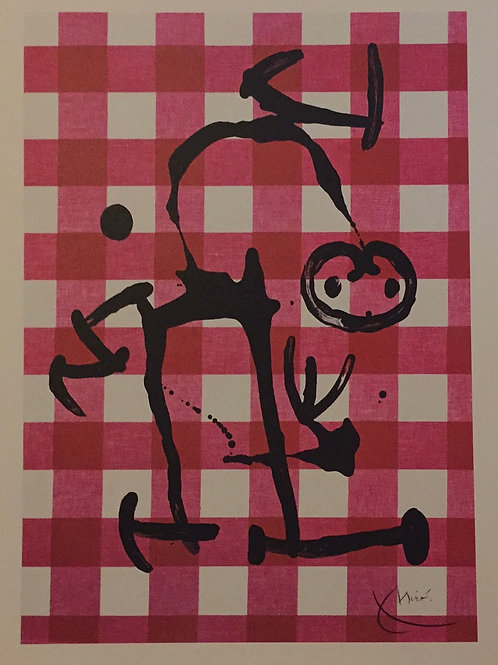 Joan Miro, Uneducated, with Red Squares