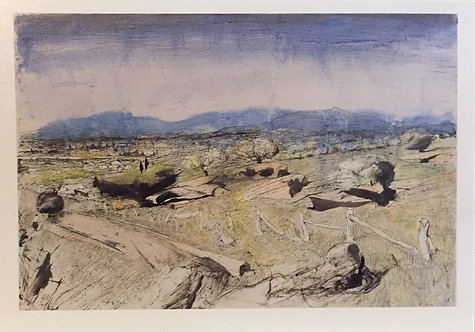 Lloyd Rees, Boulders and a distant city, Bathurst, 1977