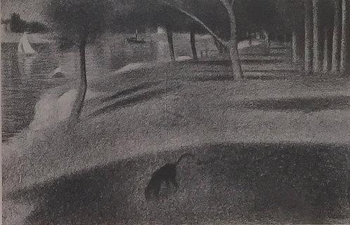 Georges Seurat, Landscape with Dog, Study for the Grande Jatte