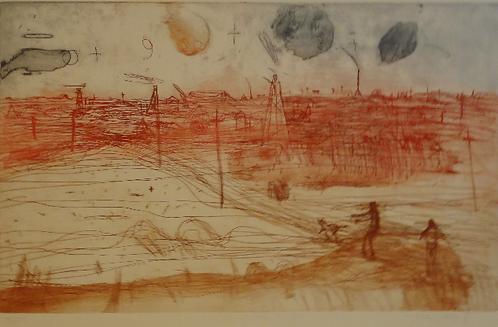 John Olsen, Hand Coloured Etching, hand signed, 'Old Golden Mile', 30/100