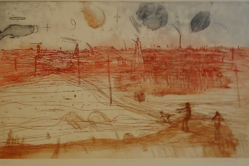 John Olsen, Hand Coloured Etching, hand signed, 'Old Golden Mile', 30/100