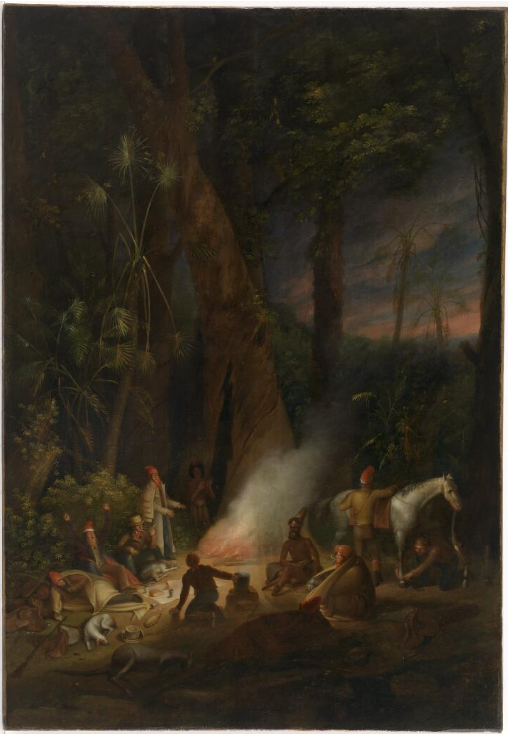 Augustus Earle , A Bivouac of Travellers in Australia, in a cabbage tree forest, day break, 1827