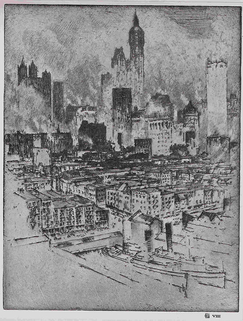 Joseph Pennell, New York from Brooklyn Bridge