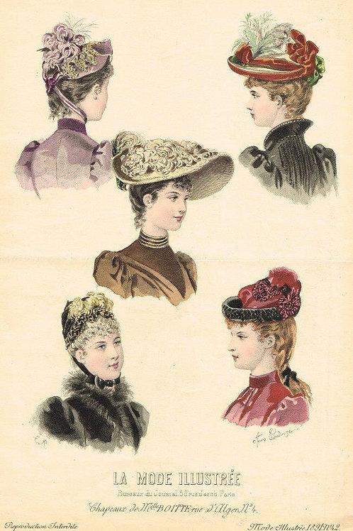 La Mode Illustree 1891 hand painted print