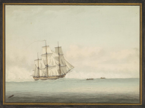 Samuel Atkins, HMS Endeavour off the coast of New Holland, c1794, National Library of Australia