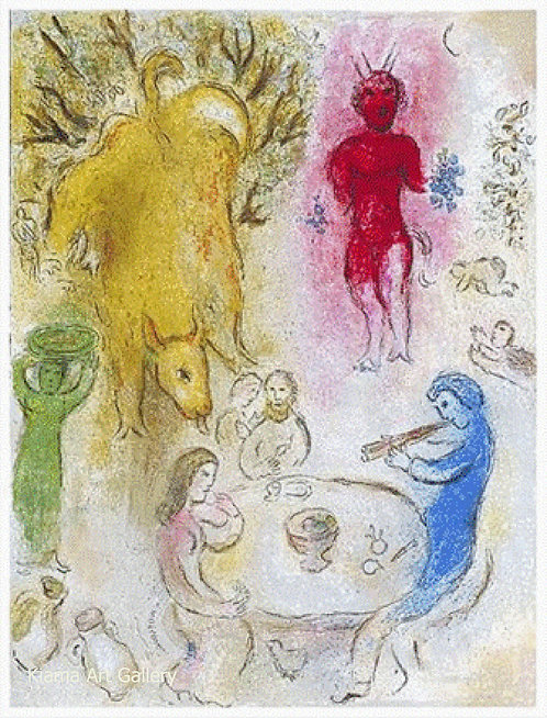 Chagall Daphnis and Chloe 1977 Print 320mm x 240mm Pan's Banquet