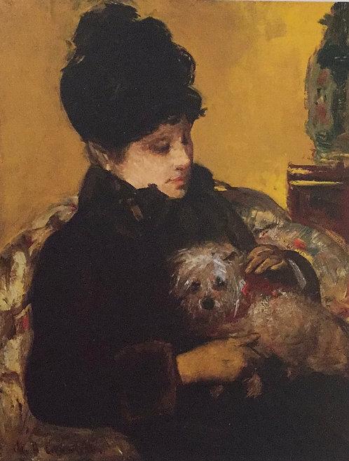 Mary Cassatt, Visitor in a Hat Holding a Maltese Dog, c1879