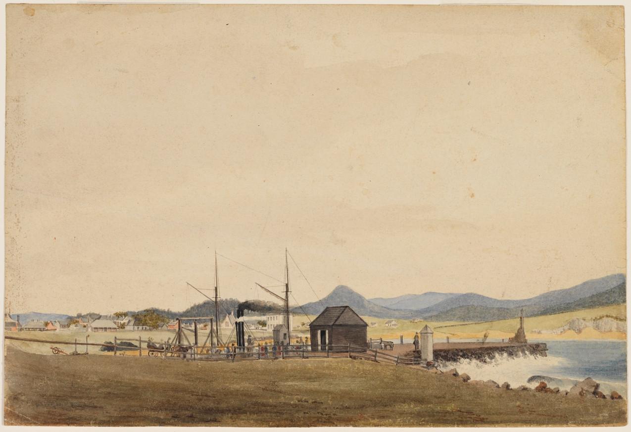 J G Sawkins,  Harbour at Wollongong, 1852-53