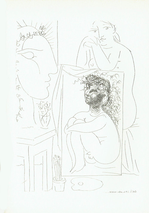 Pablo Picasso, Seated Nude with Painting and Sculptured Head