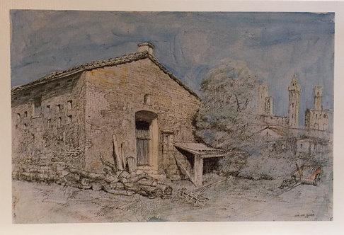 Lloyd Rees, Tuscan Landscape with San Gimignano