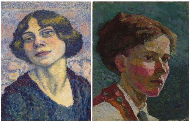 Lucie Cousturier, Self Portrait, c1905-10; Grace Cossington Smith, Study of A Head, Self Portrait,1916