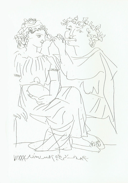 Pablo Picasso, Flute Player and girl with Tambourine